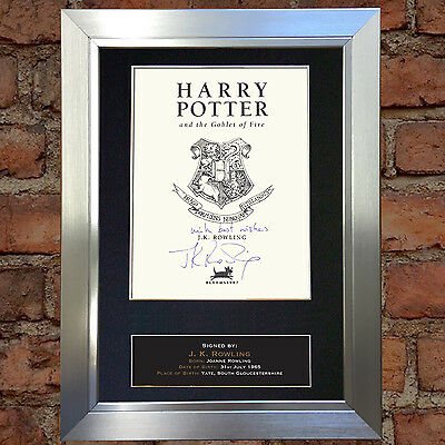 J.K. ROWLING Harry Potter Signed Autograph Mounted Reproduction Photo A4 412
