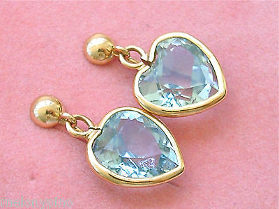 Estate 12 Carat Aquamarine Hearts 18K Yellow Gold Stud Dangle Clip Earrings