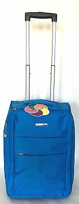 """20"""" Blue Foldable Rolling Carry On Light Weight Luggage W/ Retractable Handle"""