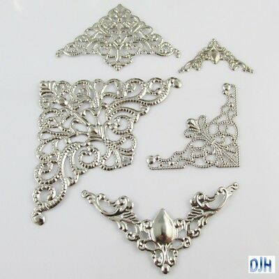 20pcs Metal Filigree Corner Embellishments Silver Craft Cards Scrapbooking