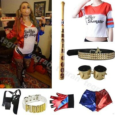 Movie Harley Quinn Suicide-Squad Complete Cosplay Halloween Costume Accessories