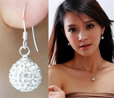 Women New Fashion Silver Soft Ceramic Girl Crystal Stud Earring Sexy Earrings