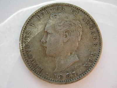 Portugal 1887 silver 200 Reis VF bent due to obverse punch