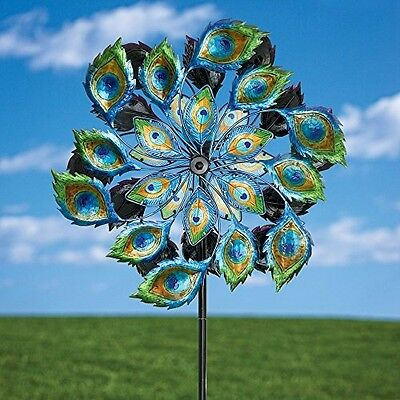 Solar Peacock Wind Spinner Decorative Solar Powered Kinetic Wind Mill Glass Ball
