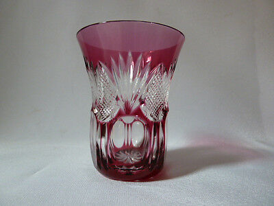 cranberry cut clear crystal vase, not signed (Nachtmann?), VGC