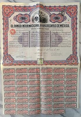 Mexico Mexican 1911 Banco Internacional Hipotecario 1000 Pesos UNC Bond Share