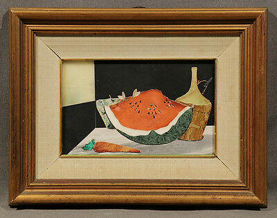 Early 20th Century Signed Italian Marble Inlay Still-Life: Watermelon and Wine