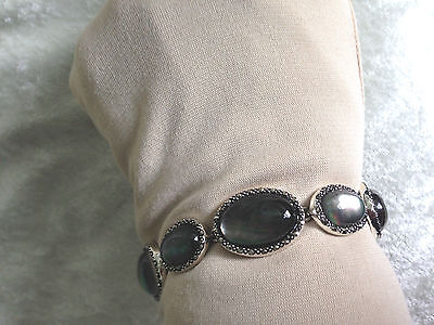 "Gray Mother Of Pearl Doublet & Marcasite 7-1/4"" Sterling Bracelet (M710-8-31)"