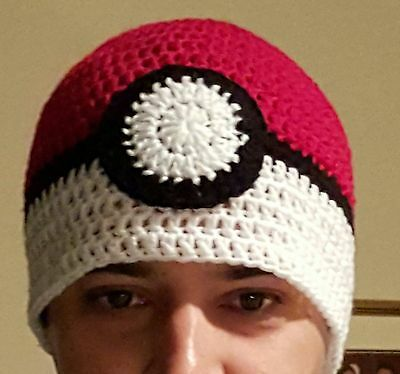 Handmade Pokemon Pokeball beanies - newborn to adult sizes