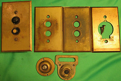 Lot Antique Solid Brass Push Button Light Switch Covers, Power Outlet, Doorbells