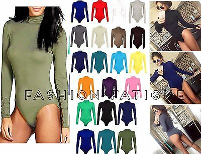 e262718f0861 WOMENS POLO TURTLE Neck Ladies Long Sleeve Stretch Leotard Bodysuit ...