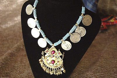Old Afghanistan Silver & Beaded Medallion Necklace  …with Jewels & Coins