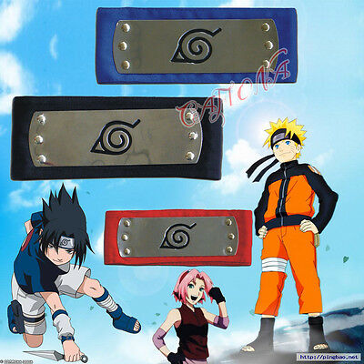 Cafiona Naruto Cosplay Accessories Naruto Ninja Headbands Black Blue Red Colors