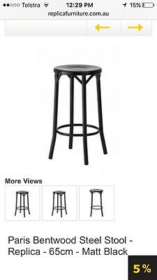 4 x Paris Bentwood Steel Stools - Replica Matt Blatt