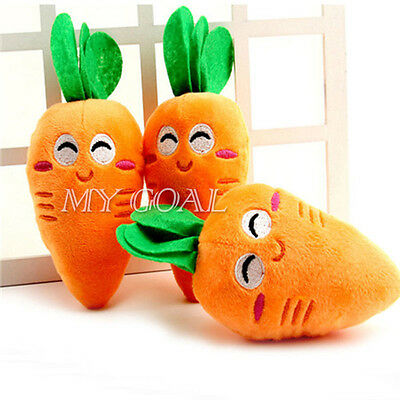 1x Cat Dog Carrot Pet Puppy Plush Sound Chew Squeaker Squeaky Play Training Toy