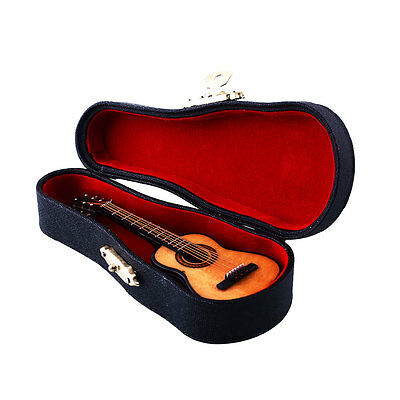 1:12 Mini Guitar Wooden Miniature Musical Instrument Dollhouse With Case New'.