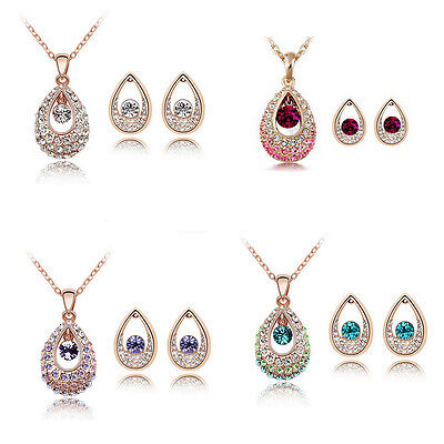 Gold Plated With Austrian Crystal Pendant/Earrings Set Fashion Jewelry