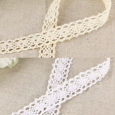 10m Cotton Crochet Lace Edge Trim Ivory/White Ribbon Sewing Crafts