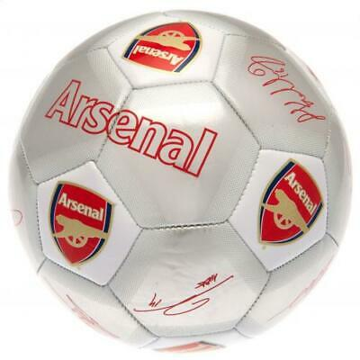 Official Arsenal Fc Gunners Silver Signature Football Adult Size 5 New Xmas Gift