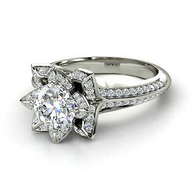 2.10ct Diamond Flower Solid 14k White Gold Engagement Wedding Ring