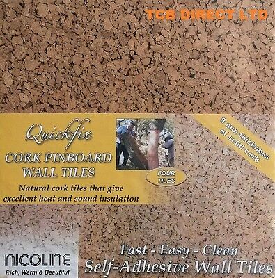 PACK OF 4 QUICKFIX NICOLINE CORK WALL TILES PINBOARD SELF ADHESIVE 8mm THICK new
