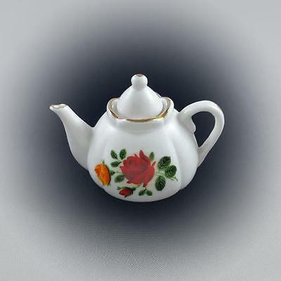 Collectable Miniature Shabby Vintage Red Rose Teapot Tea Pot