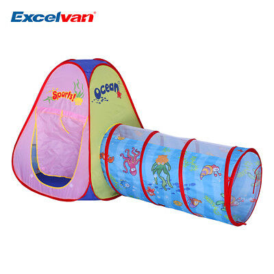 Kids Play Tent Toddlers Tunnel Pop Up Children baby Cubby Playhouse Foldable Toy