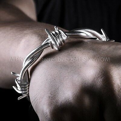 Barb Wire Bangle Bracelet - Mens Barbed Wire Wristwear - Solid Sterling Silver