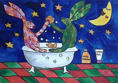 "Fridge Magnet,Quirky Hares taking a bath under the moon large  4.25"" by 5.5"""