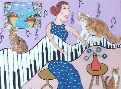 "Fridge Magnet The Eccentric Cat Woman and her Piano  large  4.25"" by 5.5"""
