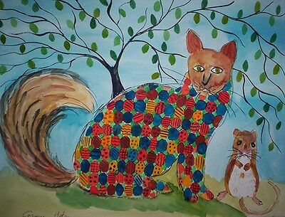 "Fridge Magnet Patchwork Cat and little mouse  large  4.25"" by 5.5"" By  Casimira"