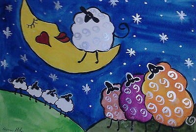 "Fridge Magnet Quirky sheep gazing the Moon  large  4.25"" X 5.5""  Casimira Mostyn"