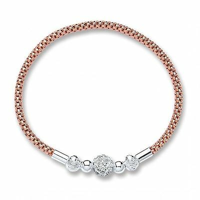 *NEW* Beautiful Rose Gold Plated 925 Sterling Silver shamballa stacking Bracelet