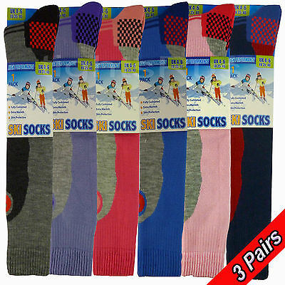 3 Pairs Ladies / Girls Winter Thermal Long Ski Snowboarding Hiking Boot Socks
