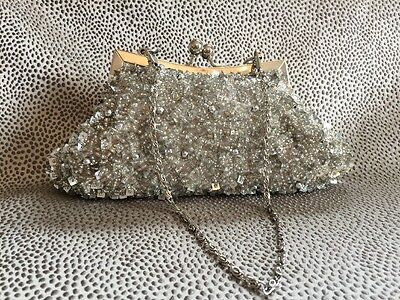 Ladies Clutch Evening Party Wedding Formal Occasion Silver Beaded Bag