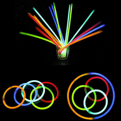 "10 X 8"" Glow Sticks Bracelet Necklaces light Neon Party Multi Colors Christmas"