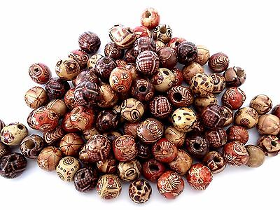 50pcs 13mm x 12mm WOODEN Round Spacer Beads EXOTIC TRIBAL MIX / Assorted Mixed