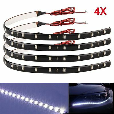 4x WATERPROOF 30 CM 3528 SMD WHITE 15 LED FLEXIBLE DRL STRIP LIGHT HOME CAR AUTO