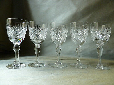 5 Webb St Andrews cut  sherry glasses, signed (different period marks), VGC