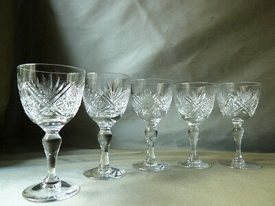 5 Webb St Andrews cut port/brandy glasses, signed (different period marks), VGC