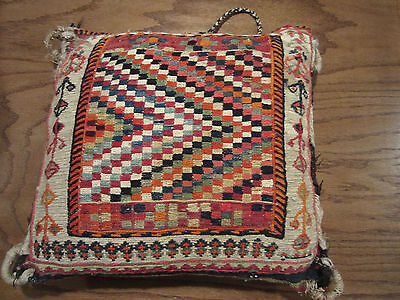 """Antique Hand Knotted Turkoman Camelbag Pillow Cushion 14"""" Square"""