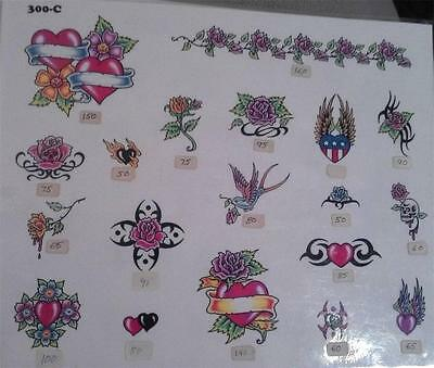 "RARE 1980s #300C OFFICIAL TATTOO BRAND 11 X 14"" FLASH DESIGN SHEET LAMINATED"