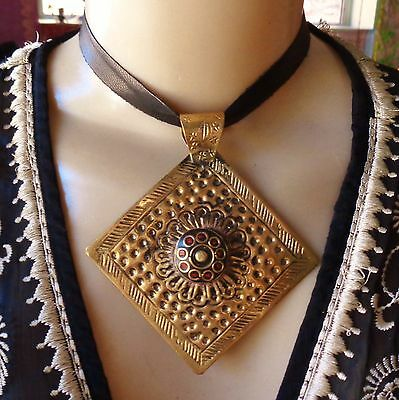 Vintage Necklace Tibetan Giant Brass Repousse Work Pendant on Leather Choker