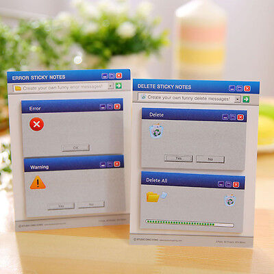 Computer Error / Warning Pop Up Messages Funny Sticky Notes Sticky Memo Pad