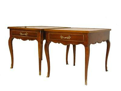 Pair of Cherry French Style Banded Top Side Tables by Sherrill