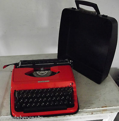 machine a écrire vintage underwood 130 orange 70's seventies rare mallette 1970