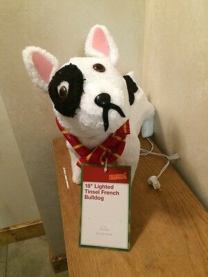 christmas 18 in pre lit fuzzy french bulldog prop lighted yard decoration