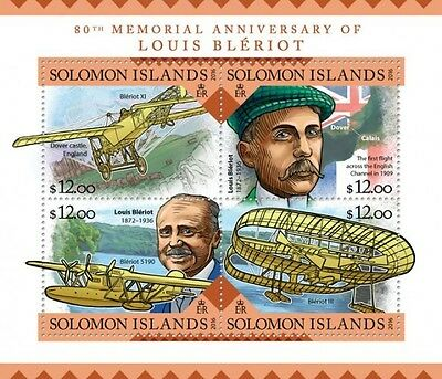 Z08 IMPERFORATED SLM16202a SOLOMON ISLANDS 2016 Louis Bleriot MNH