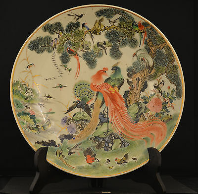 Antique  Chinese oriental  plate with wood standarder