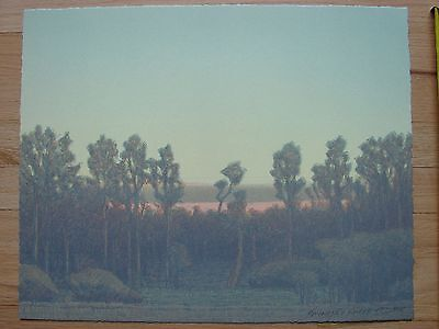 Original signed Russell Chatham lithographic print Cottonwoods at Sundown 1995